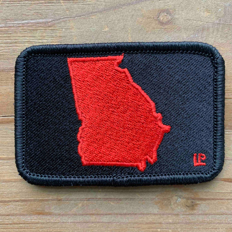 Georgia Silhouette - Red on Black 2x3 Loyalty Patch