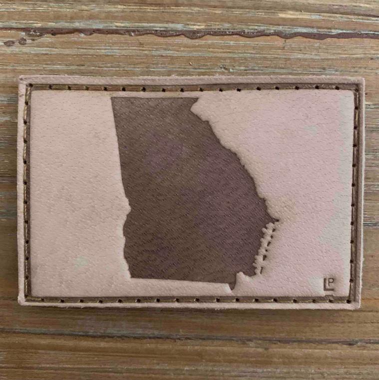Georgia Silhouette Full Grain Tan Leather Debossed 2x3 Loyalty Patch