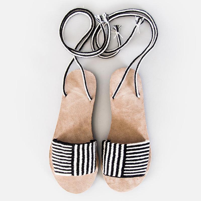 Lace-Up Stripe Sandals