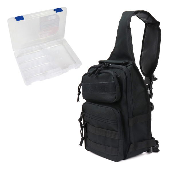 Osage River Fishing Sling Bag W/ Medium Tackle Box - Black