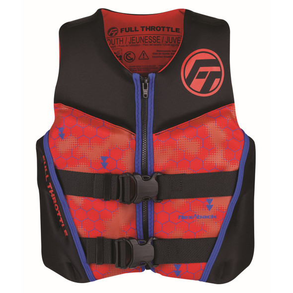 Full Throttle Youth Rapid-Dry Flex-Back Life Jacket Red