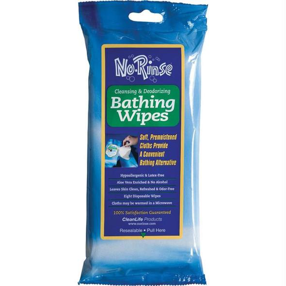 NO-RINSE BATHING WIPES (8 PK)