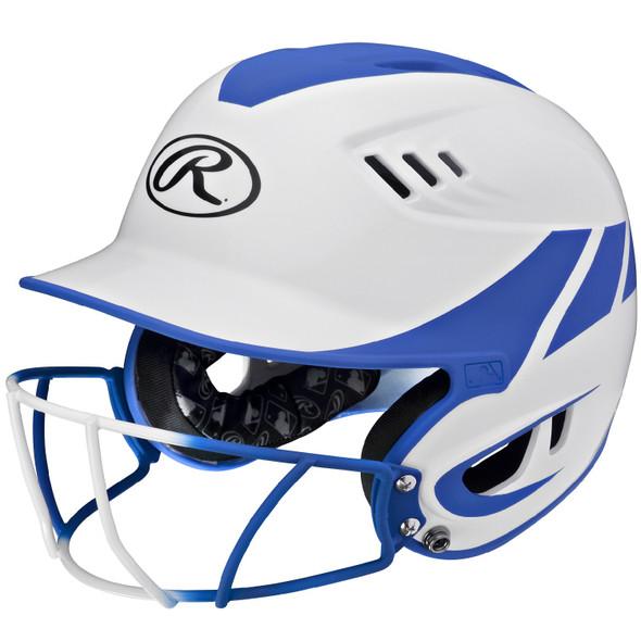 Rawlings Velo Senior 2-Tone Home Softball Helmet Mask-Blue