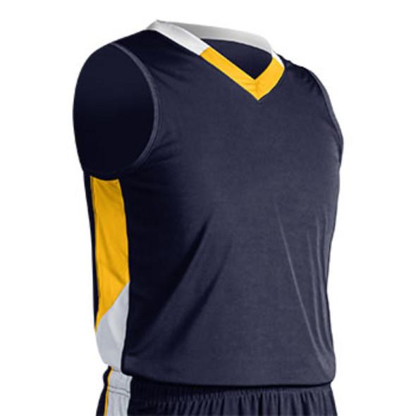 Champro Adult Rebel Basketball Jersey Navy Gold White Large