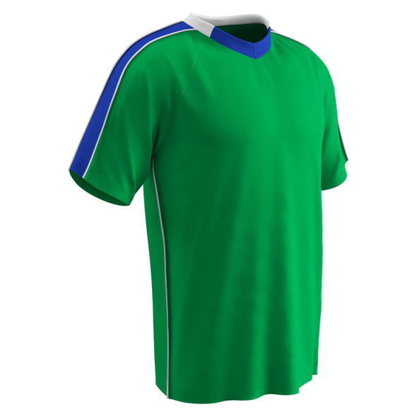 Champro Adult Mark Soccer Jersey Neon Green Royal White MED