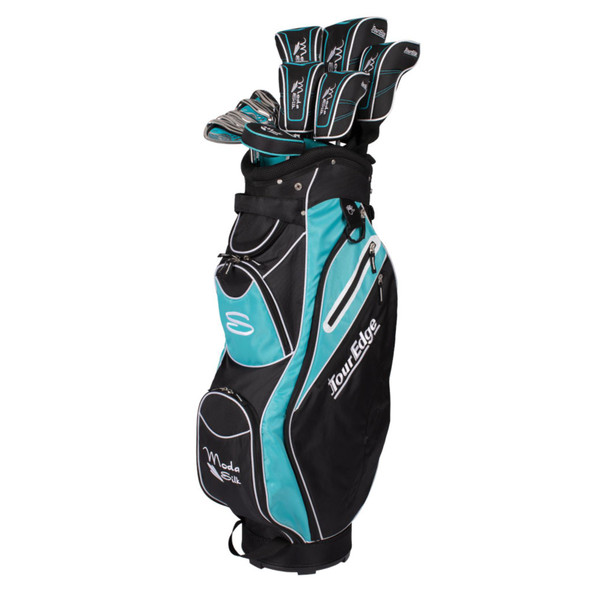 Tour Edge Moda Silk Womens Golf Set-Black-LT Blue-RH-Petite