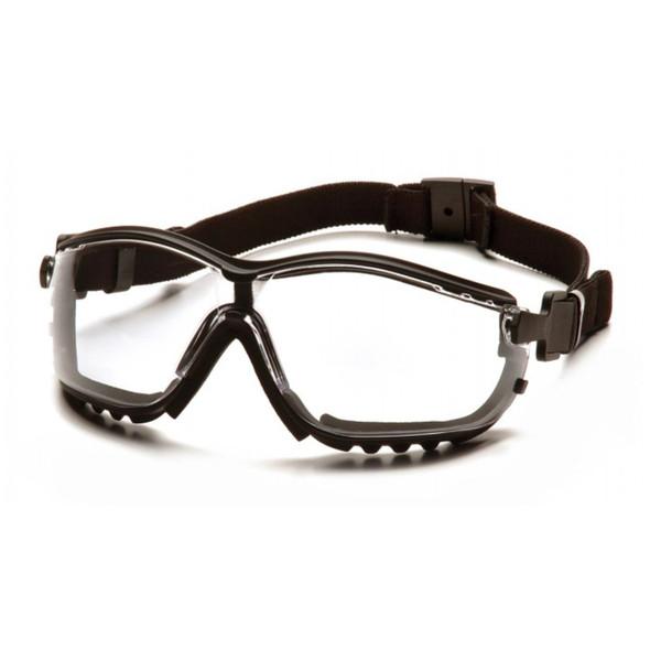 Pyramex V2G Safety Glasses Black Frame Clear Anti-Fog Lens