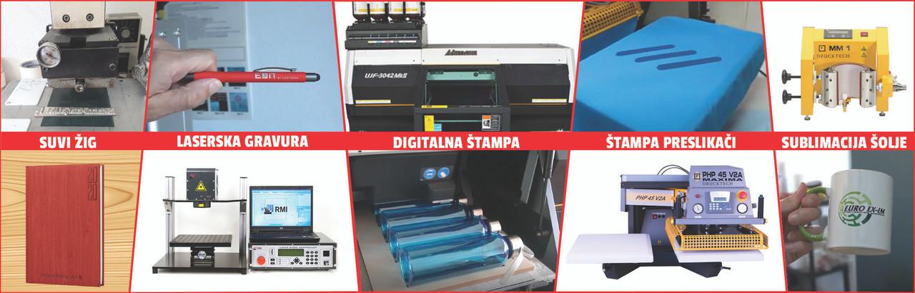 Digitalna štampa, preslikači, sublimacija, laserska gravura, suvi žig