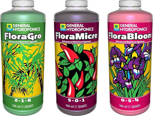 General Hydroponics Floragro, Florabloom & Floramicro Fertilizer, 1 quart, Pack of 3