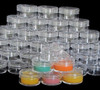 Cosmetic Jars Plastic Beauty Containers  10 Gram (Clear / White / Black Lids)