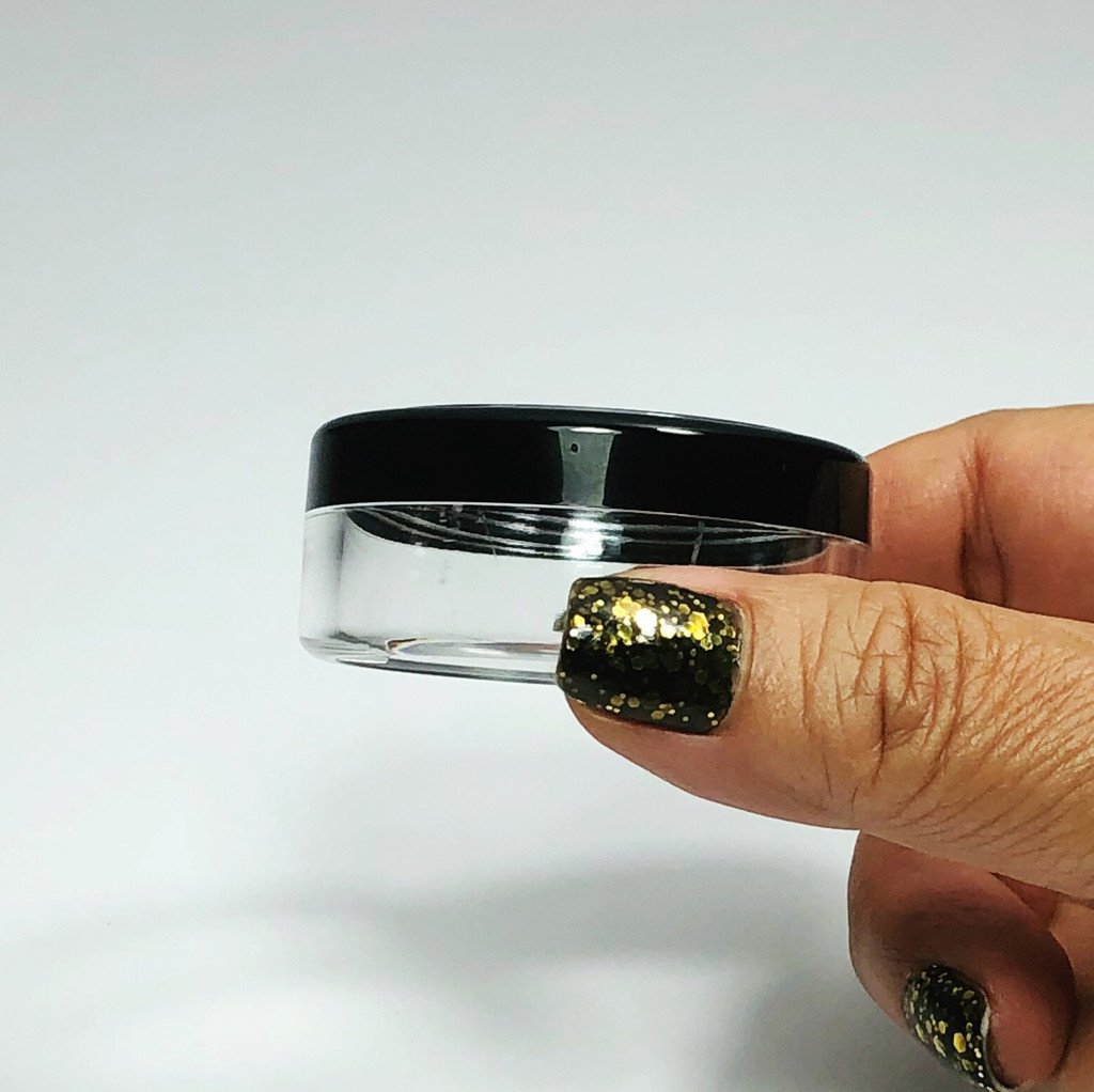 Cosmetic Jars Plastic  Beauty Containers with Lids - 20 Gram (Black Trim / Gold Trim Acrylic Window Lid)