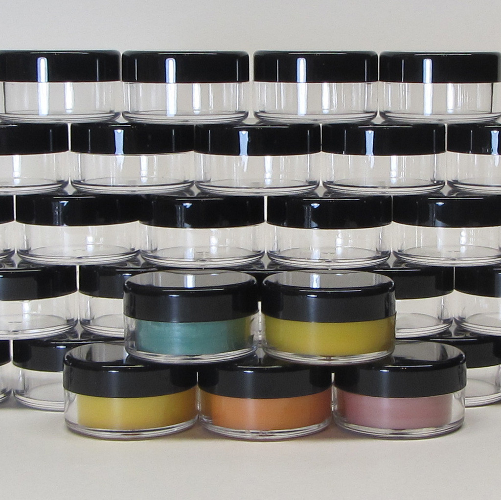 Cosmetic Jars Plastic Beauty Containers  - 10 Gram (Clear / White / Black Lids) • 5067 / 5066 / 5068
