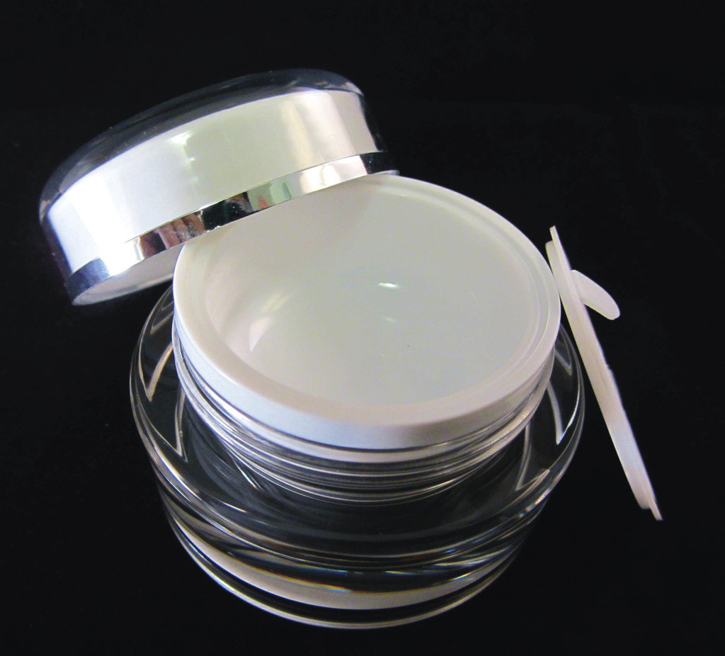 Acrylic Cosmetic Beauty Containers Cream Jars w/ Sealing Disc - 15ml