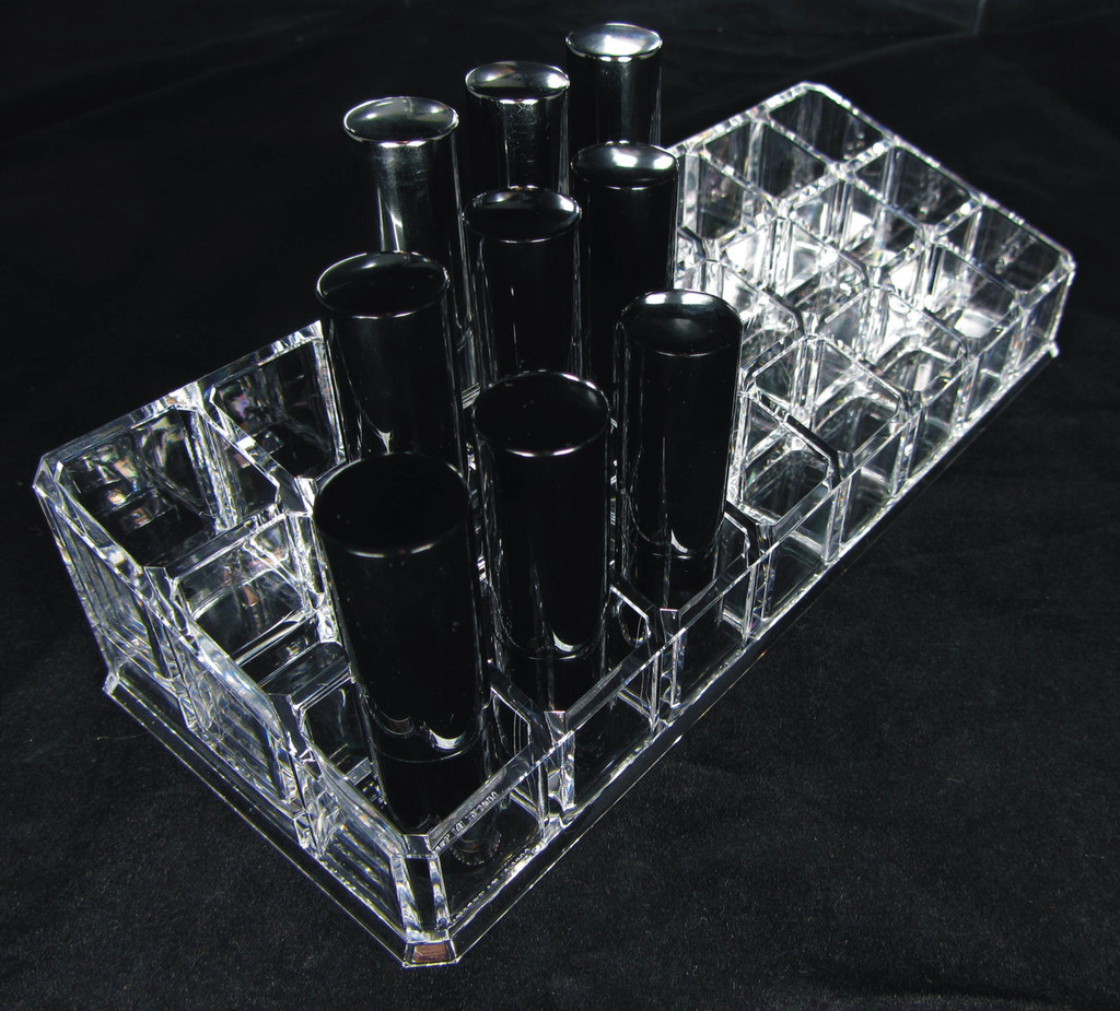 Acrylic Cosmetic Makeup Organizer 3-Tier 24 Lipstick Holder sku# 5638