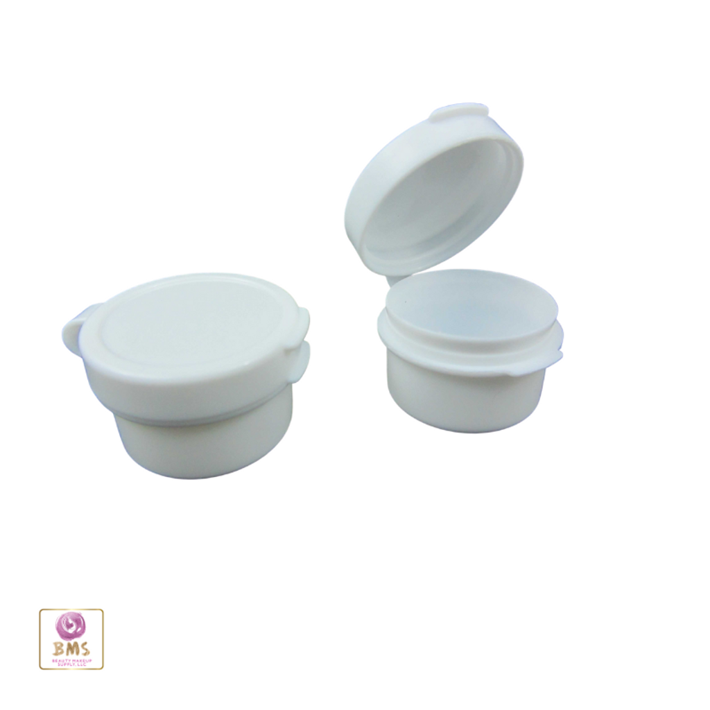 Cosmetic Hinged Lid Jars Beauty Containers - 5 Ml (White / Black / Natural )
