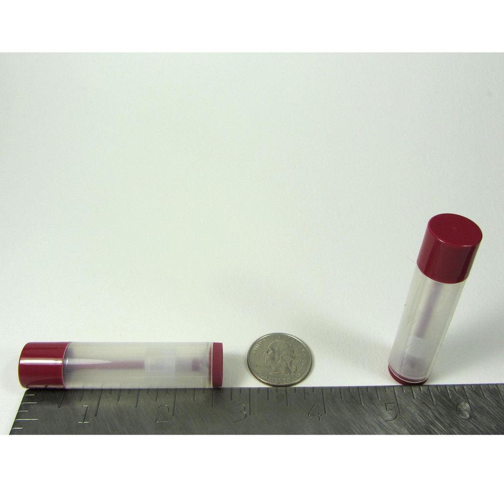 Lip Balm Tubes Plastic Beauty Containers - 0.15 oz. (Clear/Cherry Red) - sku# 9150