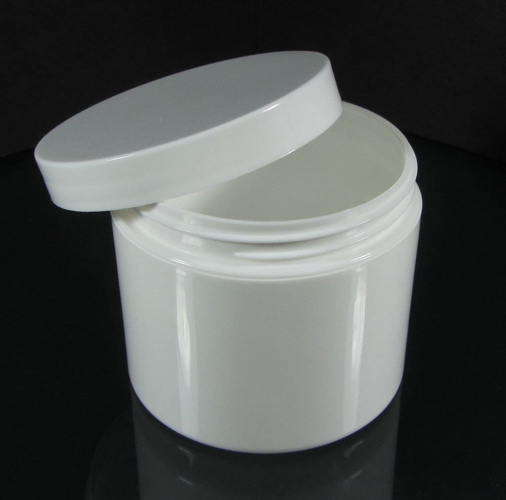 Plastic Jars Straight Edge Double Wall White Beauty Containers  & Seal - 4 oz.  (White / Black Cap) • 9313 / 9314