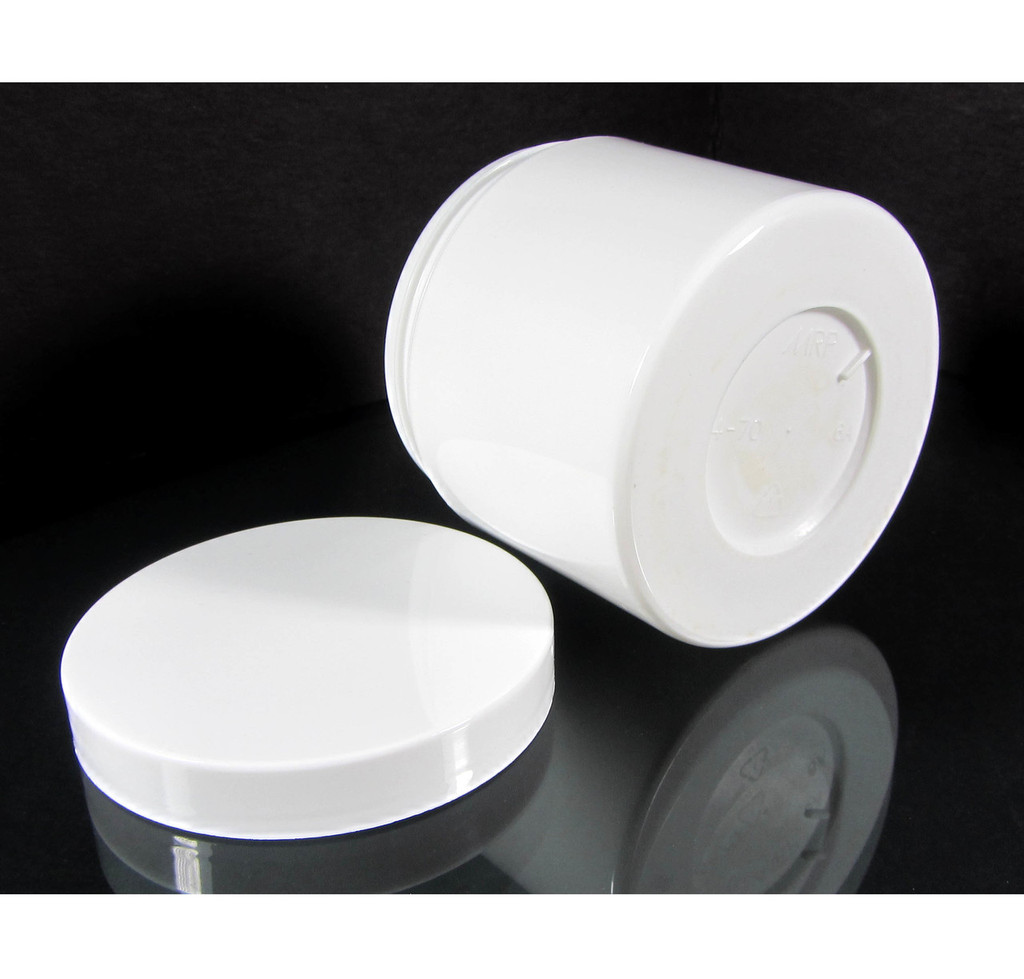 Beauty Containers Double Wall Plastic White Jars - 4 oz.  (White / Black Cap w/ Pressure Sensitive Liner)