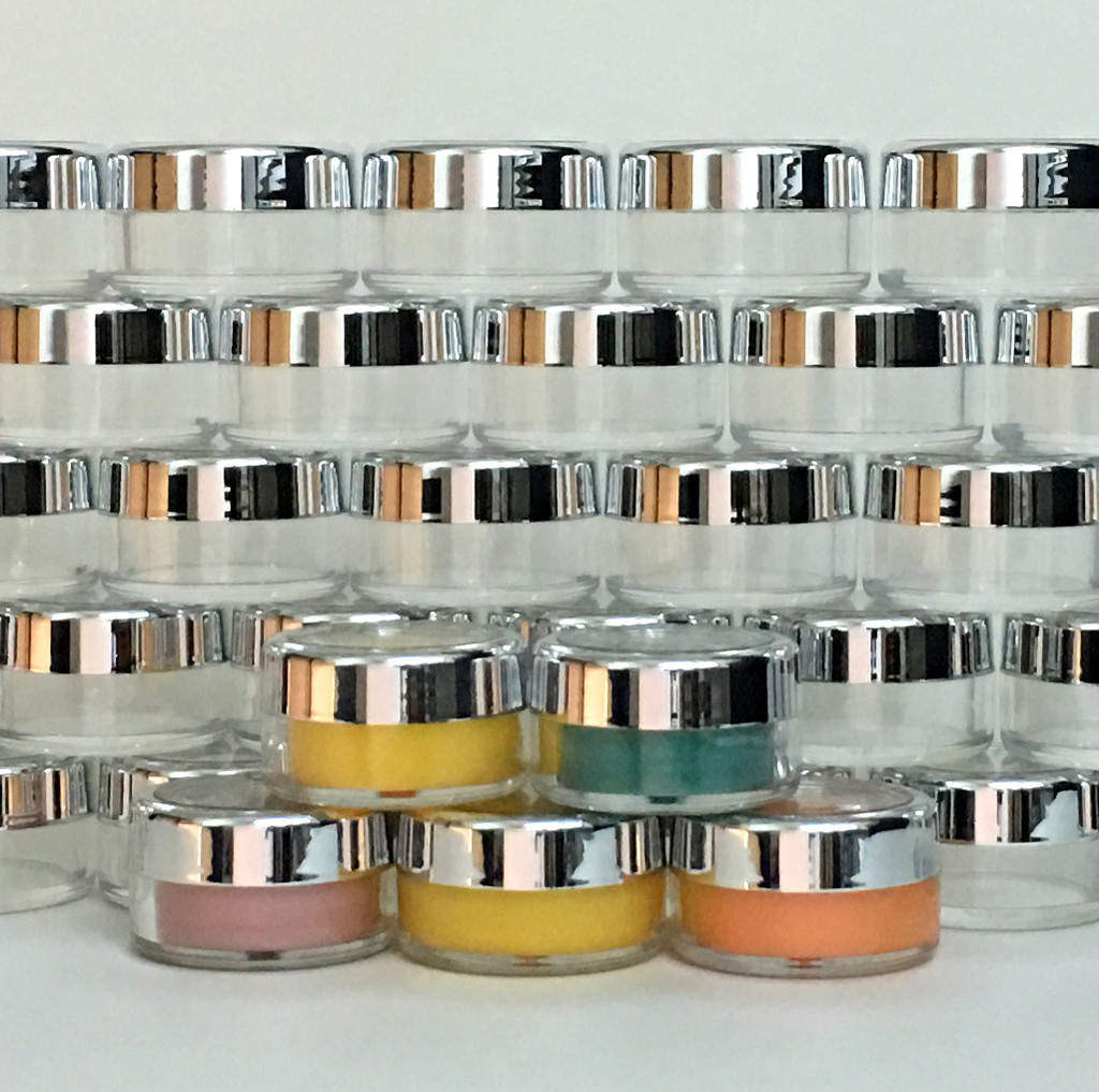 Cosmetic Jars Plastic Beauty Containers  - 10 Gram (Gold Trim / Silver Trim Acrylic Window Caps) • 3012 / 3011