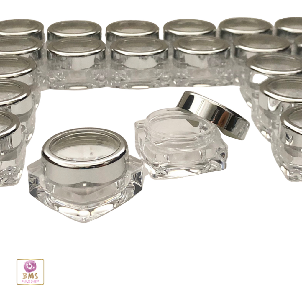 Cosmetic Jars Thick Wall Square Beauty Containers - 10 Ml (Gold Trim / Silver Trim Acrylic Window Cap ) • 3082 / 3081