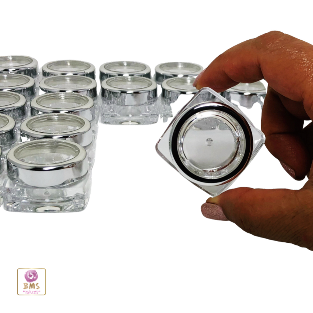 Cosmetic Jars Thick Wall Square Beauty Containers - 10 Ml (Gold Trim / Silver Trim Acrylic Window Cap )