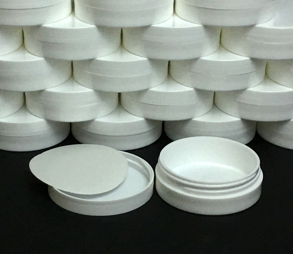 Plastic Cosmetic Containers Straight Edge Low Profile Wide Mouth White Jars - 1 oz.  (White / Black Cap w/ Pressure Sensitive Liners)