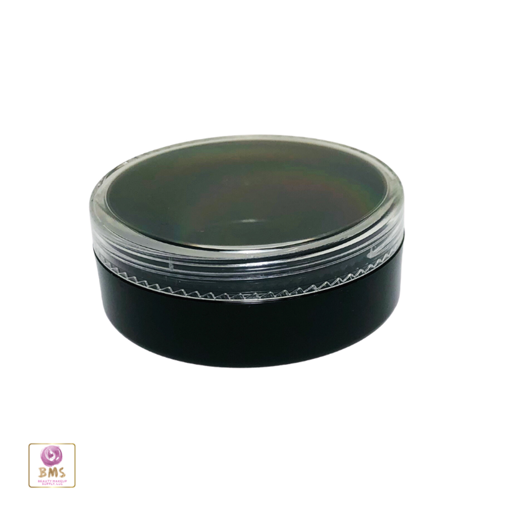 Cosmetic Sifter Jars Plastic Black Beauty Containers with Lids - 20 Gram (Black / Clear Lid) • 3827 / 3828