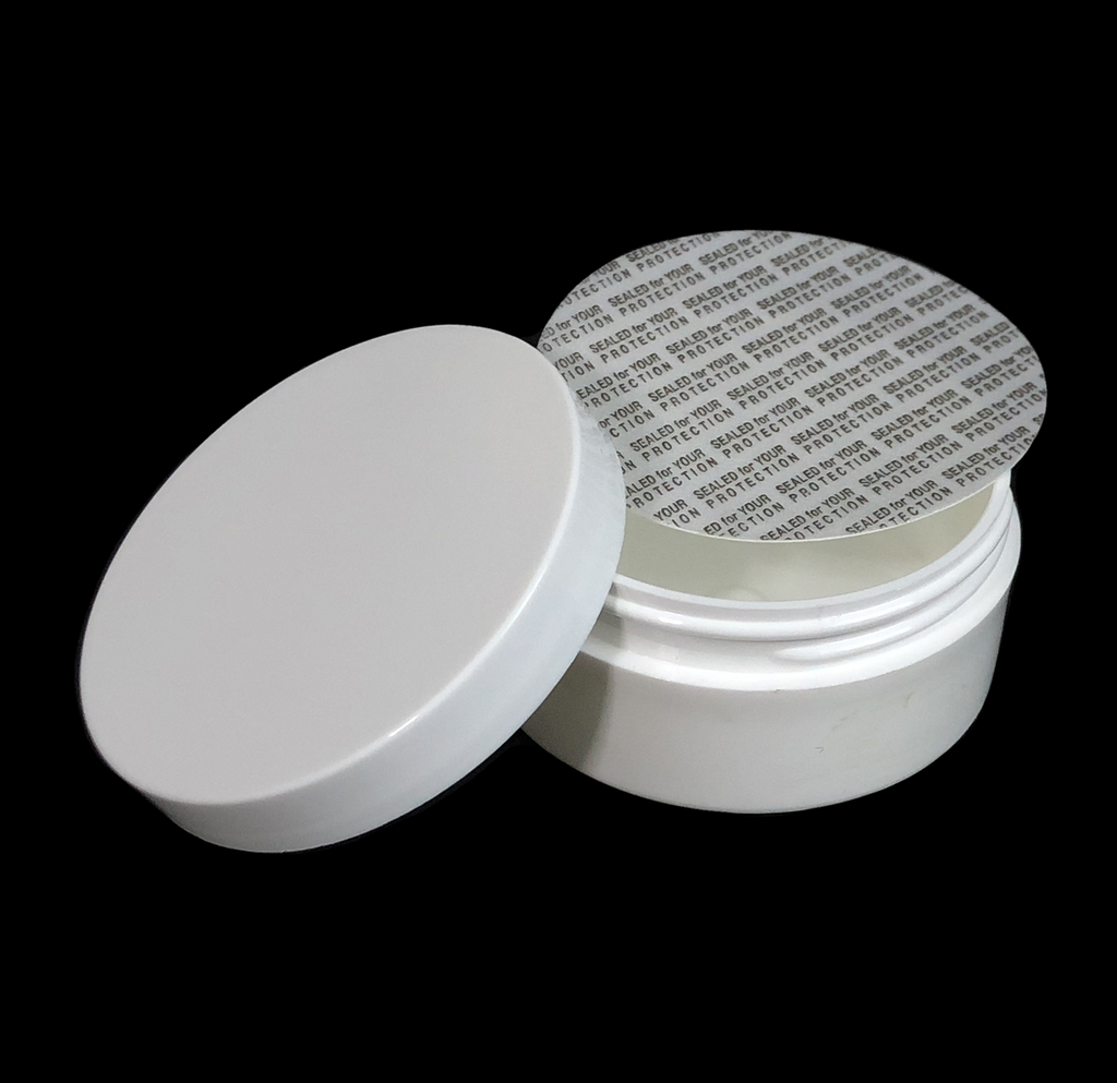 Plastic Cosmetic Containers Straight Edge Low Profile Wide Mouth White Jars - 2 oz.  (White / Black Cap w/ Pressure Sensitive Liners)