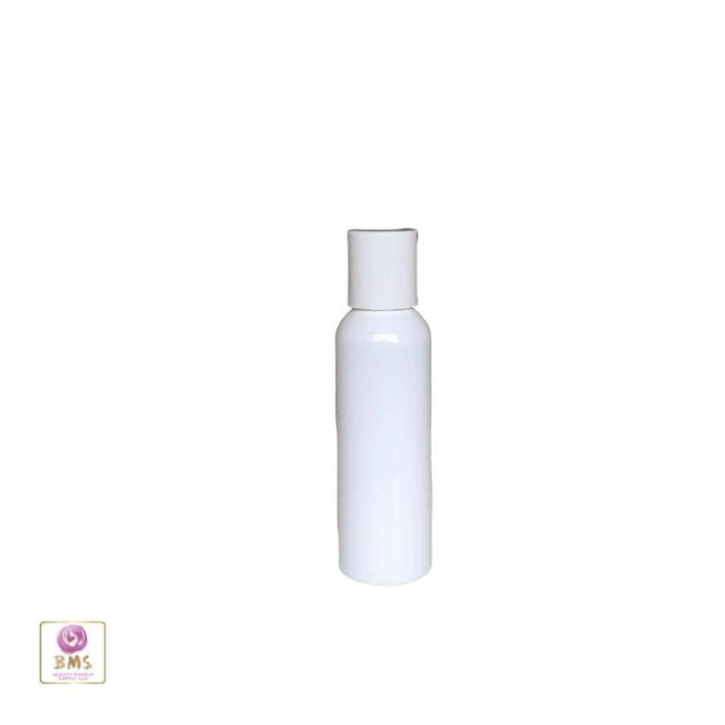 Plastic Bottles PET Refillable Cosmo Round Bottles with Disc Top Caps - 2 oz (White) 9772DW