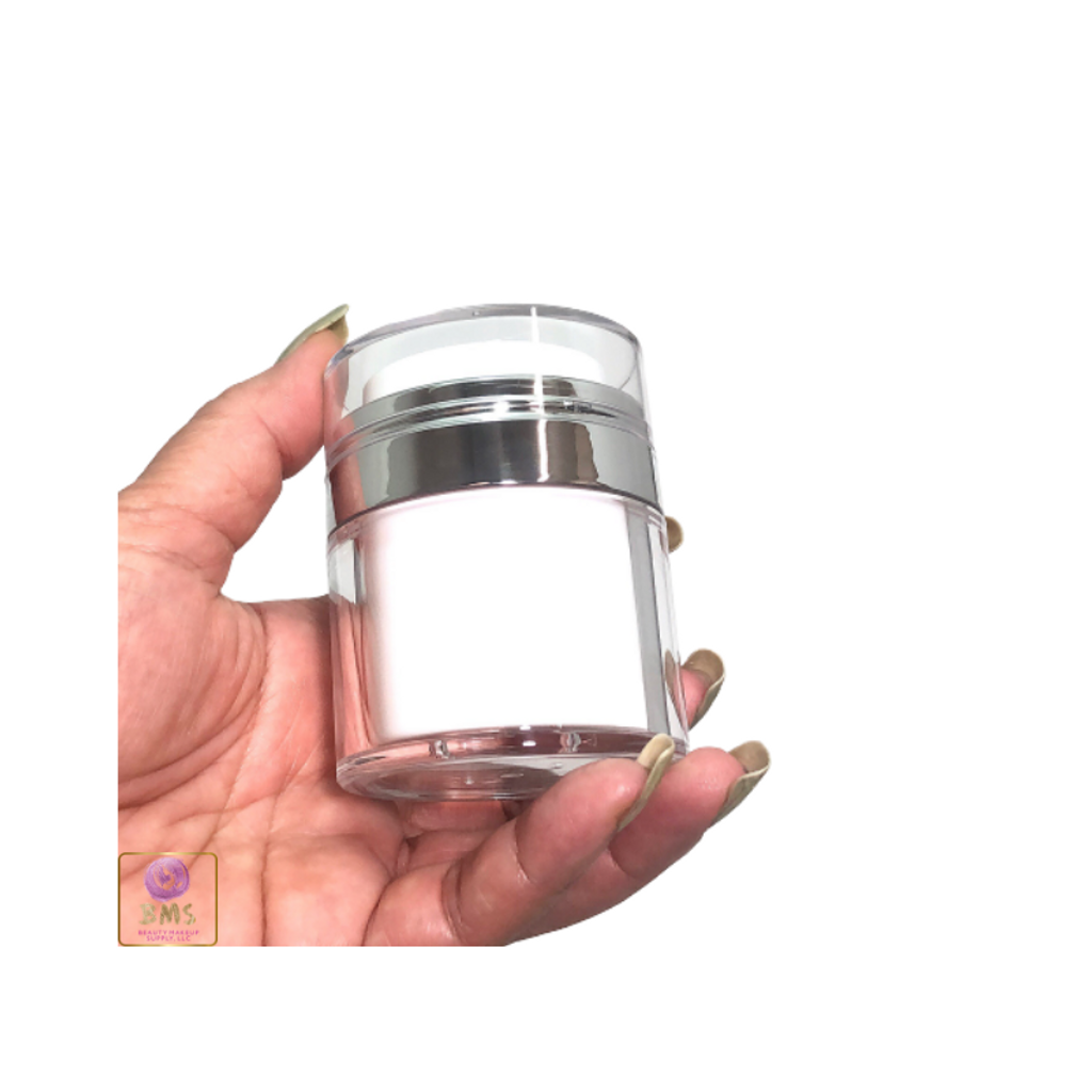 Airless Pump Jars Refillable Beauty Packaging Container - 30 ml / 1 oz. (White)