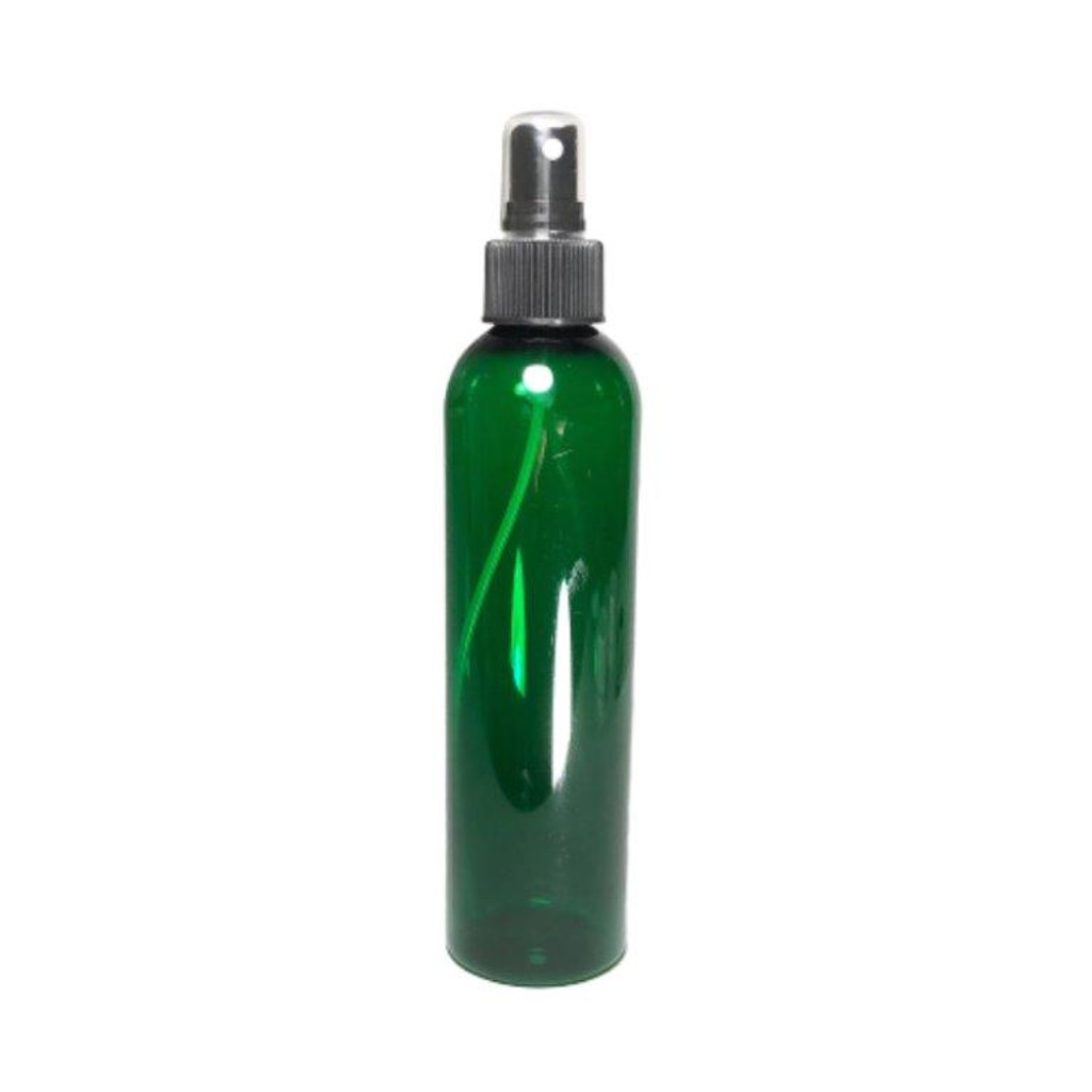 Plastic PET Refillable Spray Bottles with Pump & Overcap - 8 oz (Green)