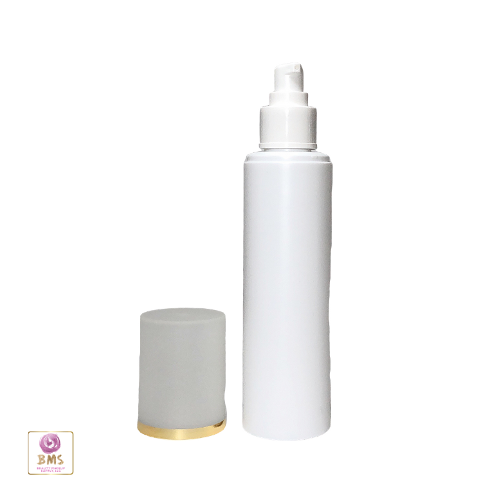 Plastic Bottles PE Lotion Pump Bottles with Over Cap - 200ml (White)