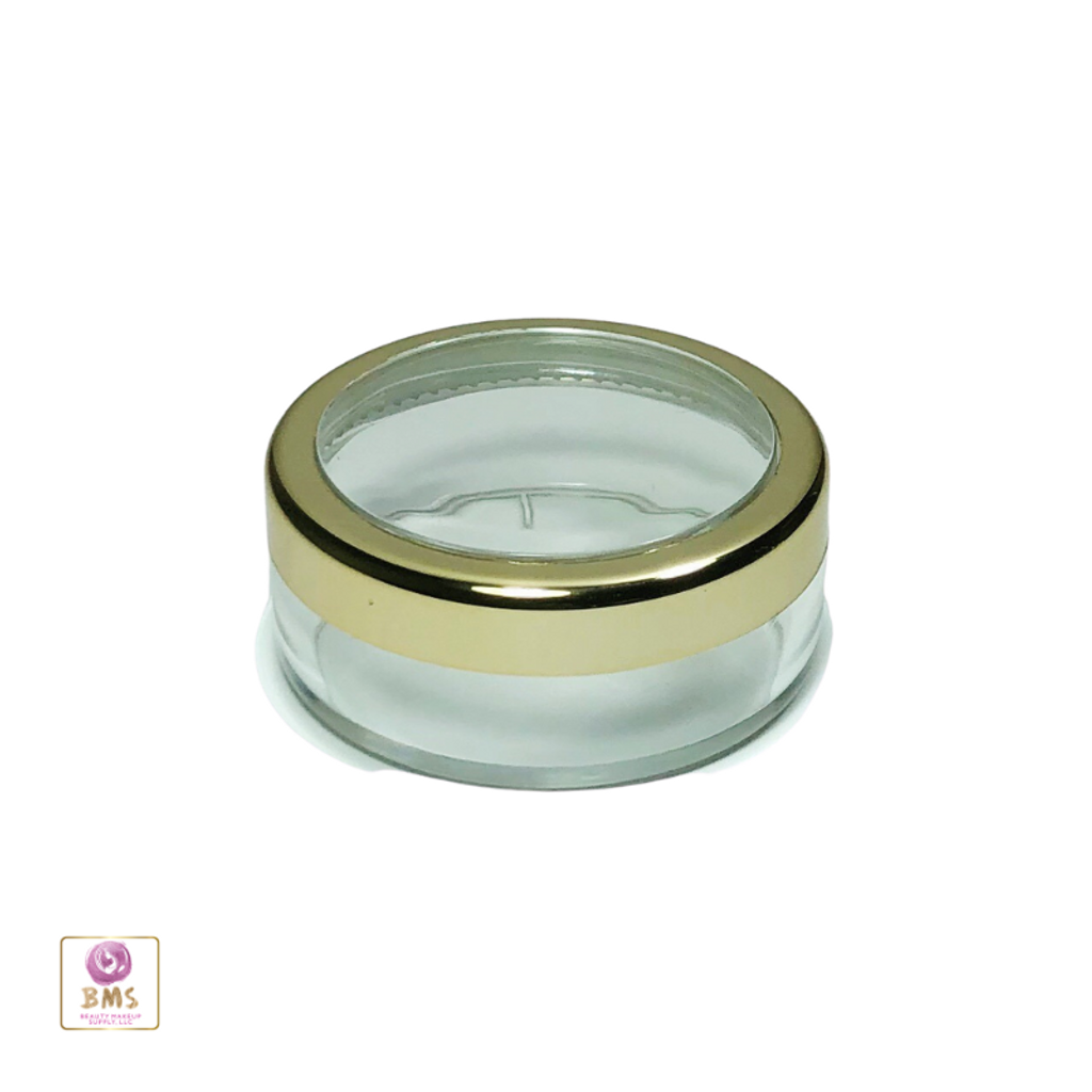 Cosmetic Jars Plastic  Beauty Containers with Lids - 20 Gram (Gold Trim) • 3022