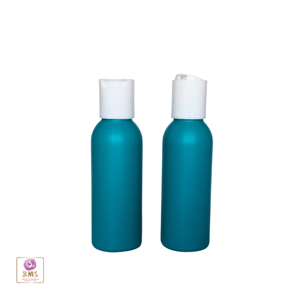Plastic Bottles HDPE Refillable Bullet Bottles with White Disc Cap 2 oz (Blue) • 9702DW
