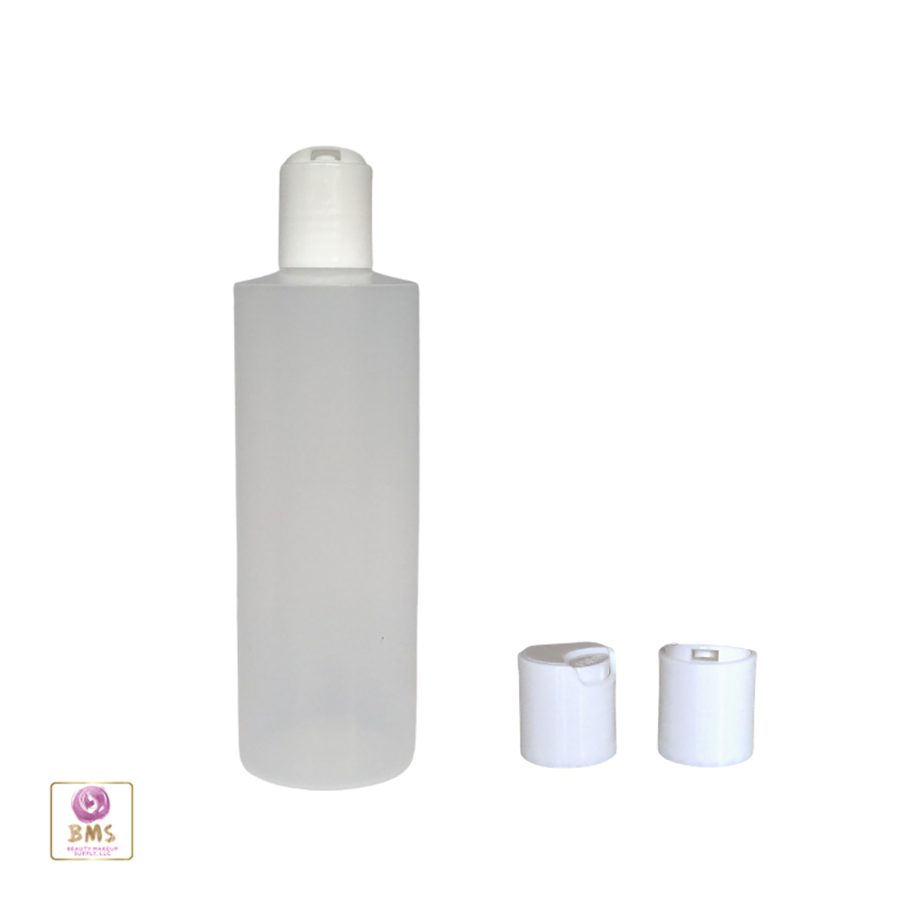 Plastic Bottles LDPE Cylinder 8 oz. w/ Disc Top (Natural) • 9728DW
