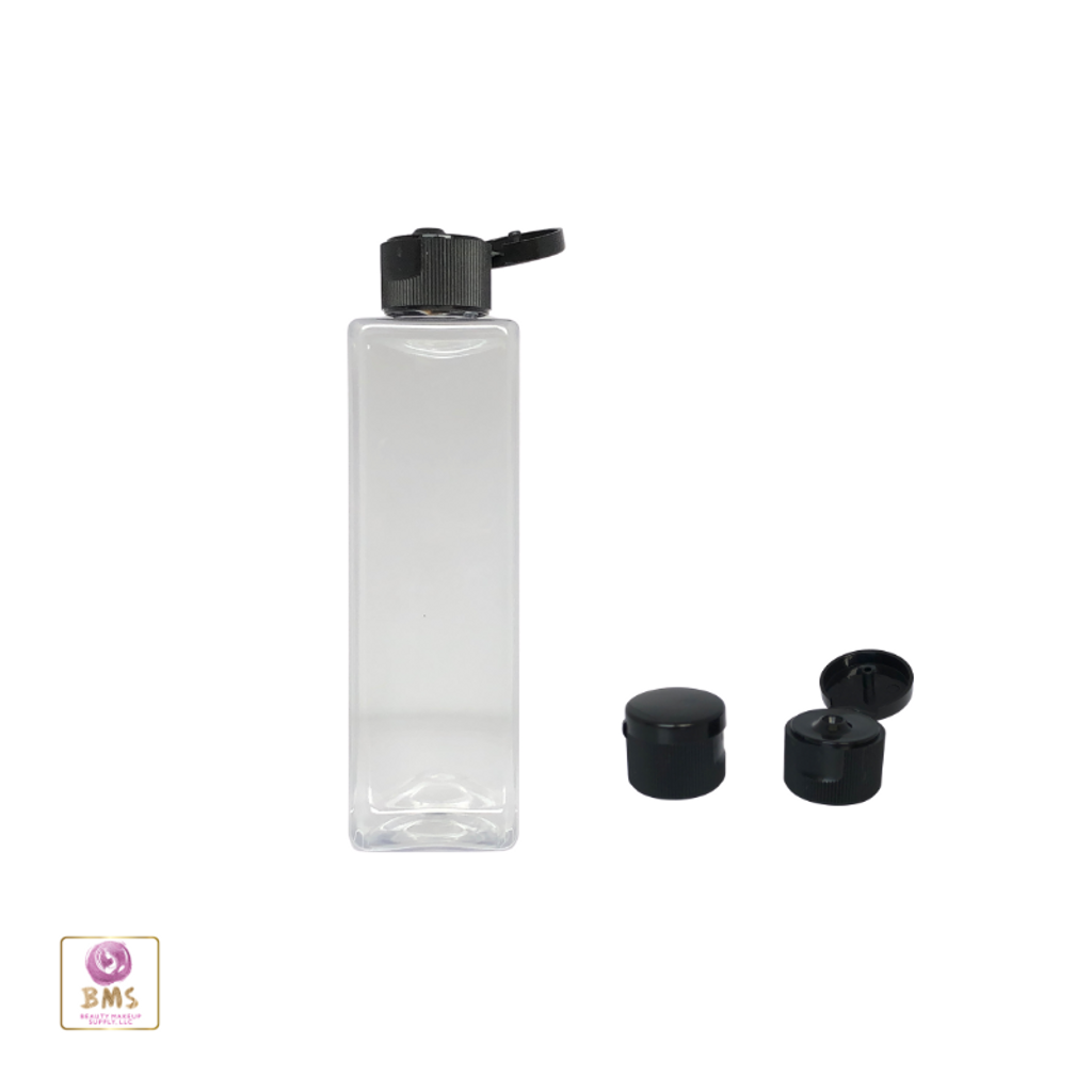 Plastic Bottles PET Square Bottles Black Flip Top Cap - 4 oz. (Clear) • 9784FB