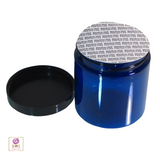 Plastic PET Jars Blue Straight Sided Cosmetic Beauty Containers - 8 oz. (Black Cap w/ Pressure Sensitive Liner) • 9338
