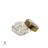Cosmetic Jars Thick Wall Square Beauty Containers 5 Ml (Gold Trim Acrylic Window Lid) • 3052