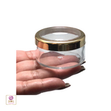 Cosmetic Jars Plastic Beauty Containers with Lids - 30 Gram (Gold Trim Acrylic Window Lid) • 3032