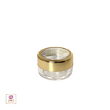 Cosmetic Jars Plastic Beauty Containers - 5 Gram (Gold Trim Acrylic Window Caps) • 3050