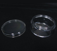 Cosmetic Jars Plastic Beauty Containers - 30 Gram (Black / Clear Lid)