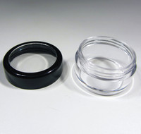 Cosmetic Jars Plastic Beauty Containers  - 10 Gram (Black Trim Acrylic Window Lids)