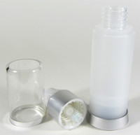Airless Bottle with Pump & Overcap Lotion Serum Treatment Refillable Bottles - 30 ml / 1 oz. (Frost)