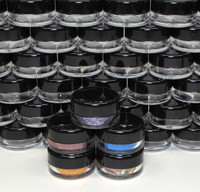 Cosmetic Jars Plastic Lip Balm Beauty Containers with Lids- 3 Gram (Clear / White / Black Lid)