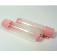 Lip Balm Tubes Plastic Beauty Containers - 0.15 oz. (Clear/Lovely Pink) - sku# 9155