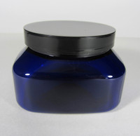 Cosmetic Jars Plastic Square PET Blue Beauty Containers - 8 oz. (Black Cap w/ Pressure Sensitive Liner)