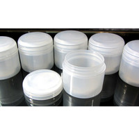 Cosmetic Jars Double Wall Plastic Beauty Containers with Lined Dome Cap - 60 ml / 2 oz.  (Natural)