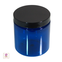Plastic PET Jars Blue Straight Sided Cosmetic Beauty Containers - 8 oz. (Black Cap w/ Pressure Sensitive Liner)