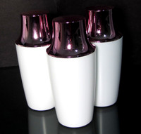Plastic Bottles White with Pink Cap Beauty Containers - 8.5 oz.