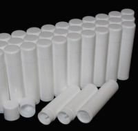 Lip Balm Tubes Plastic Beauty Containers - 0.15 oz. (White/White) Rounded Edge Caps